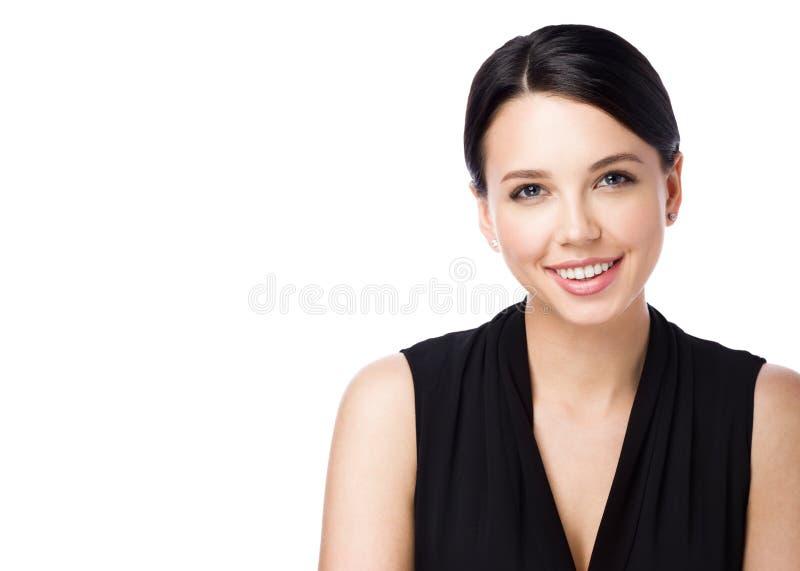 Portret odizolowywający na białym tle atrakcyjna młoda kobieta obrazy royalty free