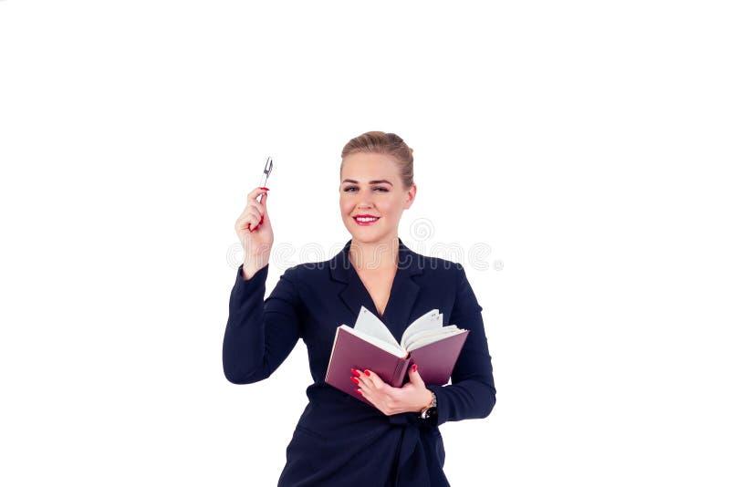 Portret odnoszący sukcesy biznesmenki okulary blond fryzury idealnie wyglądają na czerwone usta w stylowym czarnym garniturze zdjęcie stock