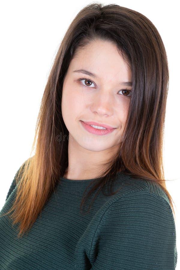 Portret ono wpatruje się pozytywnie atrakcyjna młoda kobieta fotografia royalty free