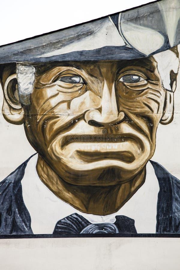 Portret oudere die volwassene met hoed, op een muur in La Vella, Andorra wordt getrokken vector illustratie