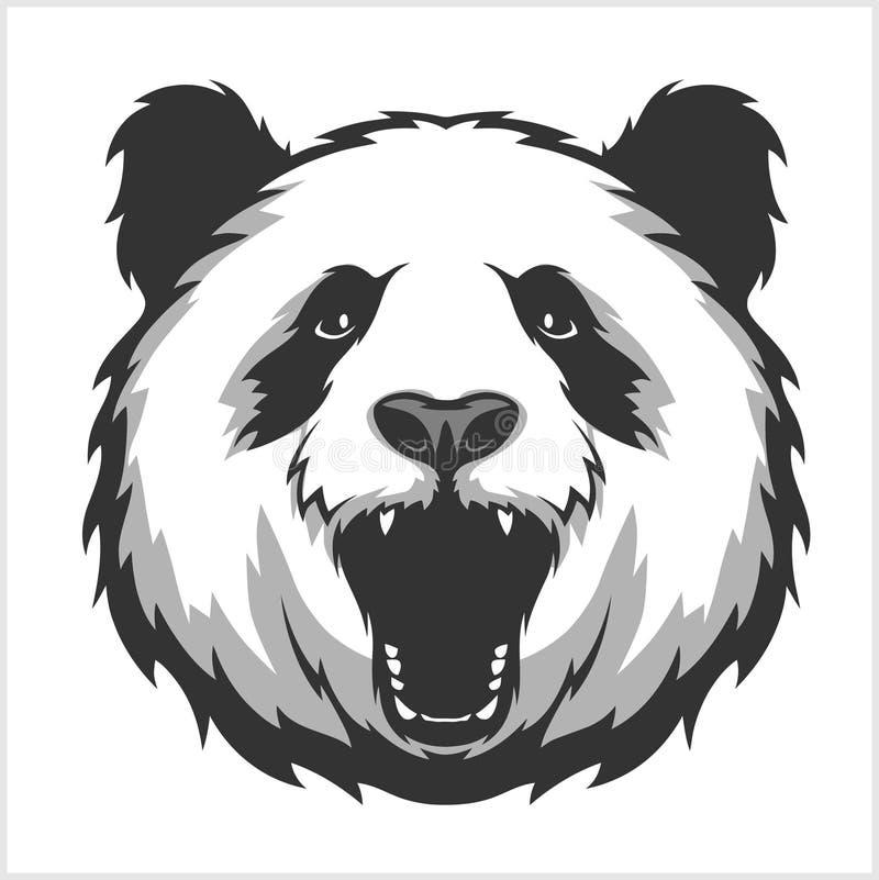 Portret panda Agresywni twarz niedźwiedzie ilustracja wektor
