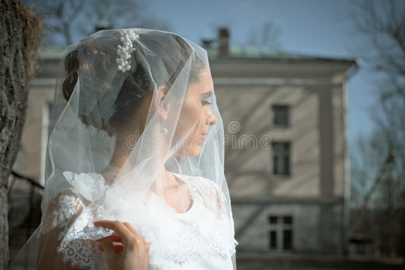 Portret panna młoda z przesłoną fotografia stock