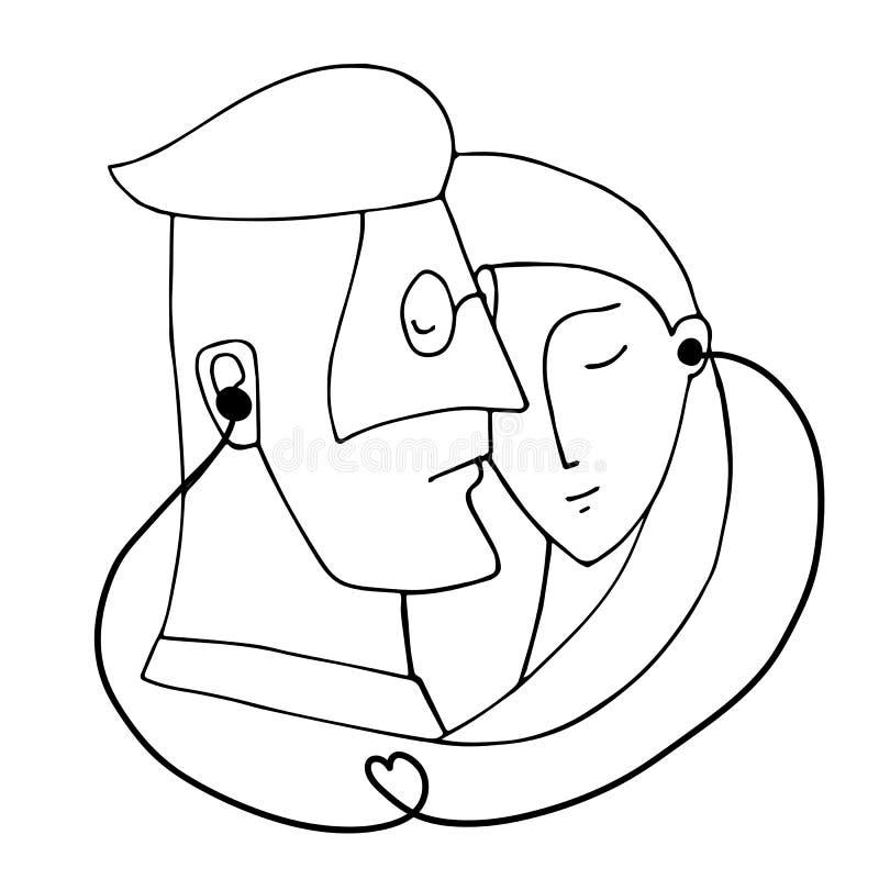 Portret para który słucha muzyka jeden parą hełmofony dla dwa ilustracja wektor