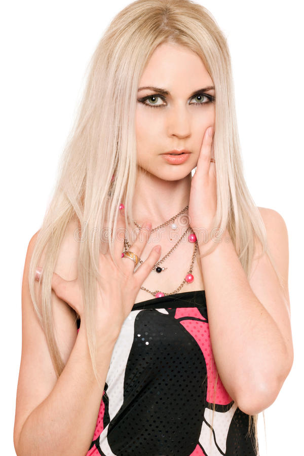 Portret perfect młoda blondynka. Odosobniony obraz royalty free