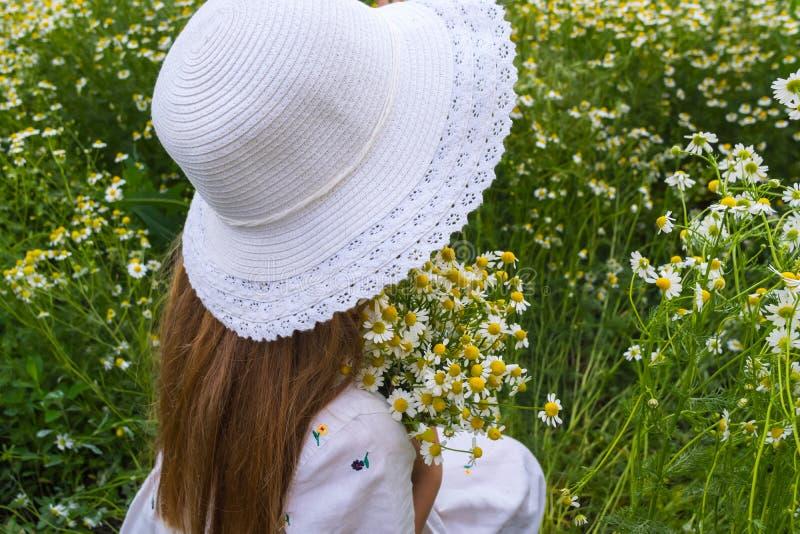 Portret piękna dziewczyna w białym kapeluszu z bukietem stokrotki na kwiat łąki tle i obraz stock