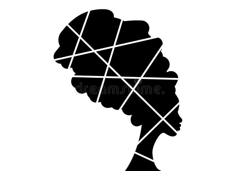 Portret piękna Afrykańska kobieta w tradycyjnym turbanie, Afro murzynek wektorowa sylwetka odizolowywająca, loga projekta fryzura royalty ilustracja