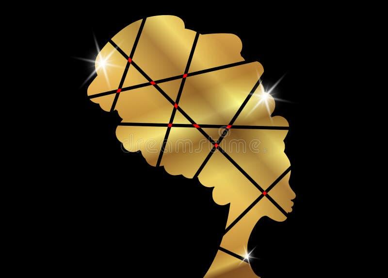 Portret piękna Afrykańska kobieta w tradycyjnym turbanie, Afro murzynek wektorowa sylwetka odizolowywająca, loga projekta fryzura ilustracja wektor