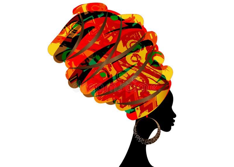 Portret piękna Afrykańska kobieta w tradycyjnym turbanie, Kente głowy opakunku afrykanin, Tradycyjny dashiki druk, czarne Afro ko royalty ilustracja