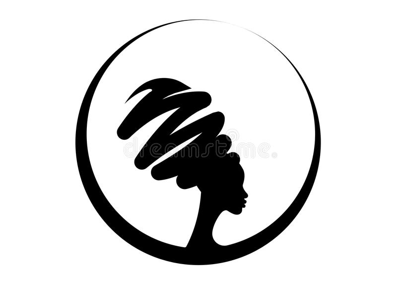 Portret piękna Afrykańska kobieta w tradycyjnym turbanie, murzynki sylwetka odizolowywająca, fryzury pojęcie royalty ilustracja