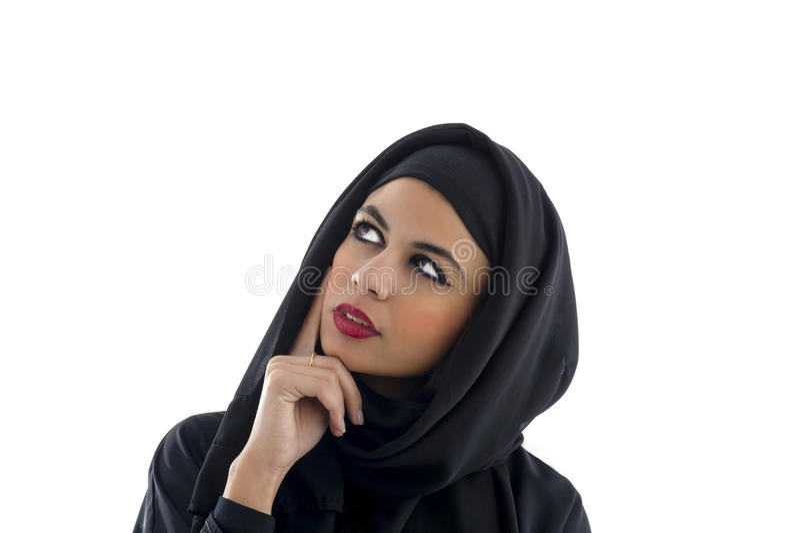 Portret piękna Arabska kobieta jest ubranym Hijab, fotografia royalty free