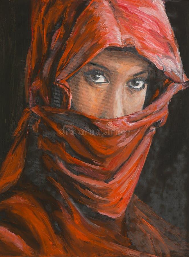 Portret piękna arabska kobieta w hijab ilustracji