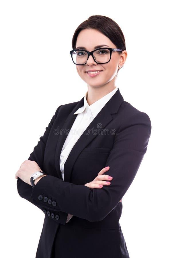 Portret piękna biznesowa kobieta odizolowywająca na bielu obrazy royalty free