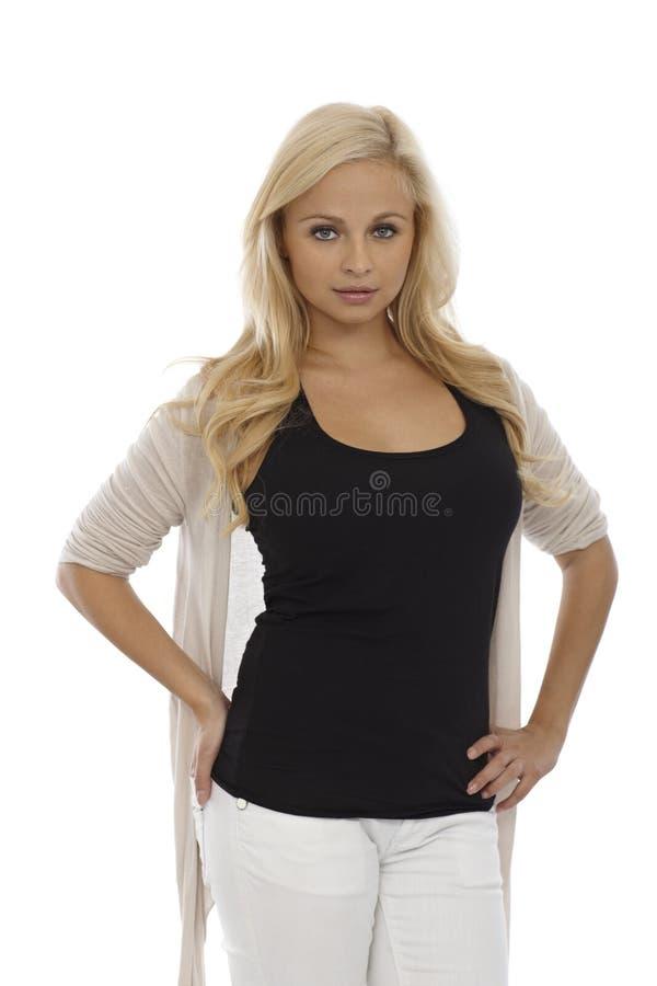 Portret piękna blondynki kobieta obrazy stock