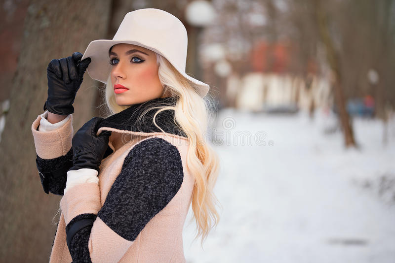 Portret piękna blondynki kobieta z makeup fotografia royalty free