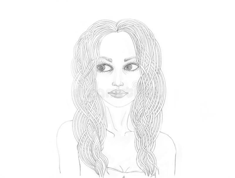 Portret piękna dziewczyna Rysujący w ołówku odosobniony royalty ilustracja