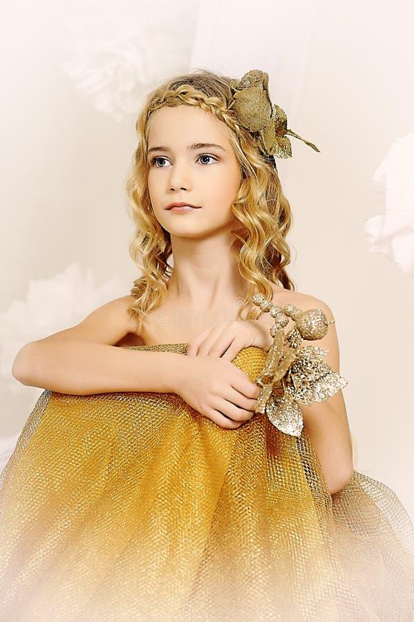 Portret piękna dziewczyna w złocie obrazy stock