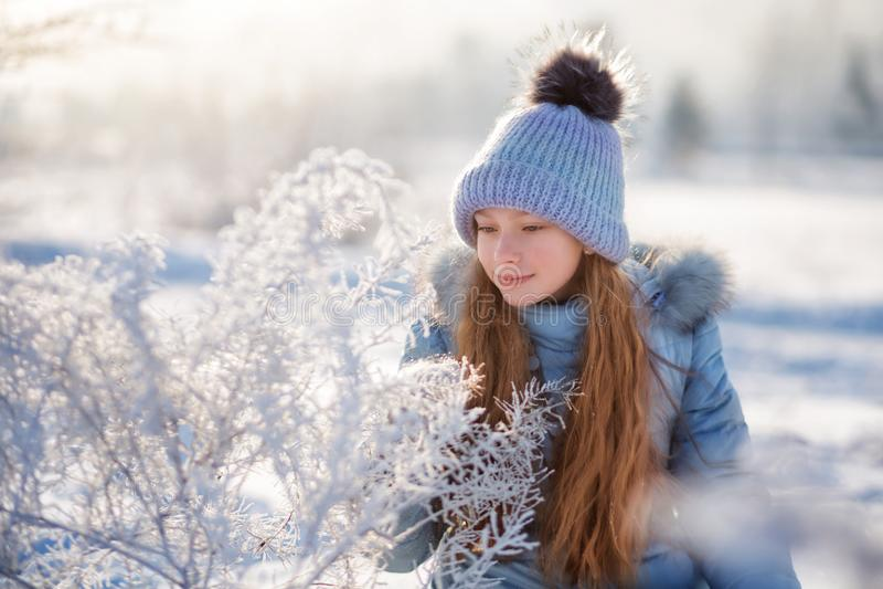 Portret piękna dziewczyna w zima lesie fotografia royalty free