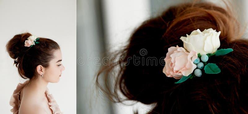 Portret piękna dziewczyna z ciemnego włosy i światła porcelany skórą Włosy w babeczce Włosiany akcesoryjny handmade obrazy stock