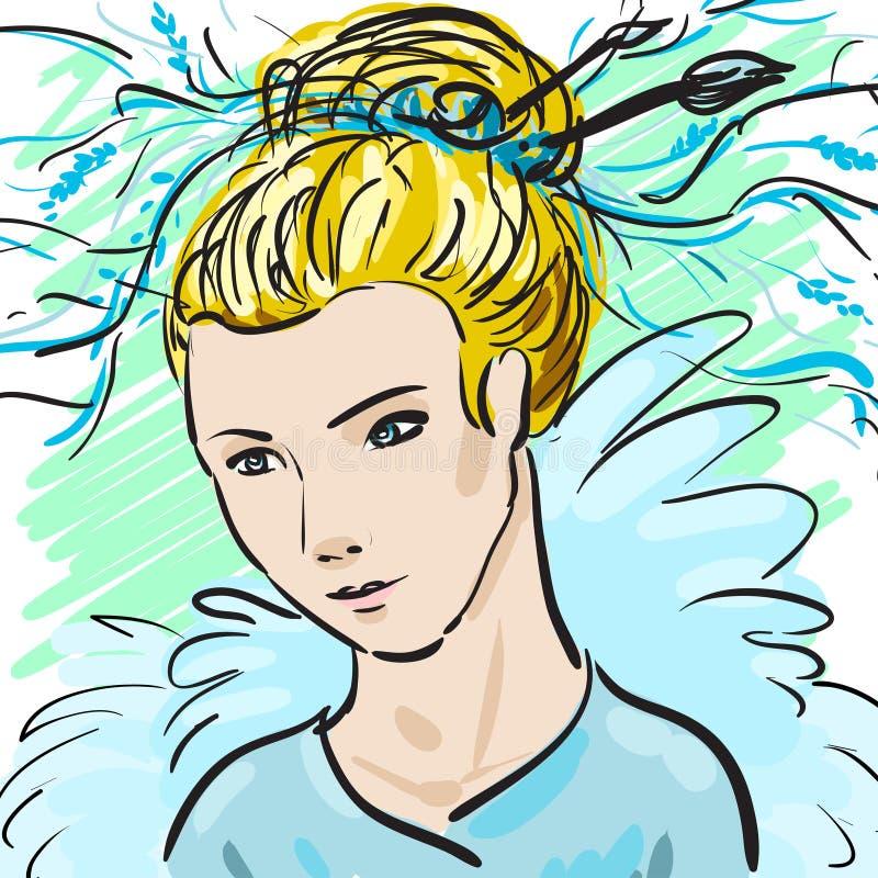 Portret piękna dziewczyny kobieta pociągany ręcznie kreatywnie moda Indywidualna korporacyjna tożsamość Ja może używać jako poczt ilustracja wektor