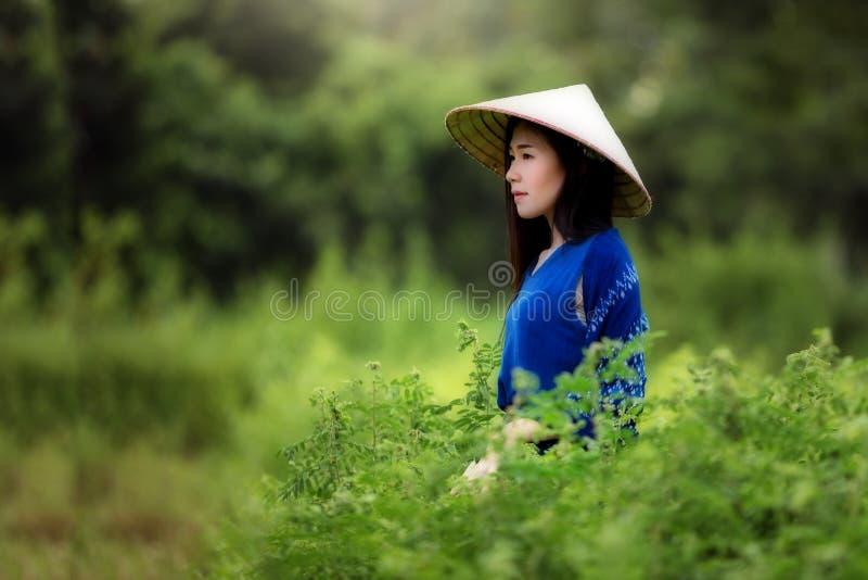 Portret piękna kobieta jest ubranym indygowego płótno farbującego obrazy royalty free