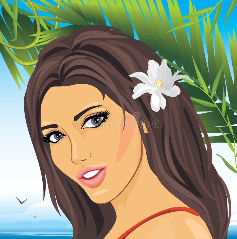 Portret piękna kobieta wśród palmowych gałąź royalty ilustracja