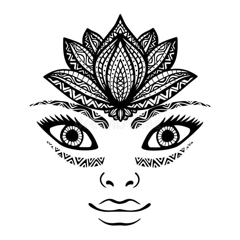 Portret piękna kobiety twarz, ładny dziewczyny twarzy tatuaż z lotosowego kwiatu koroną jako headpiece Ręka rysująca elegancka mo royalty ilustracja