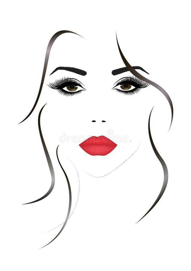 Portret piękna kobiety twarz z czerwone seksowne wargi, wektorowa ilustracja royalty ilustracja