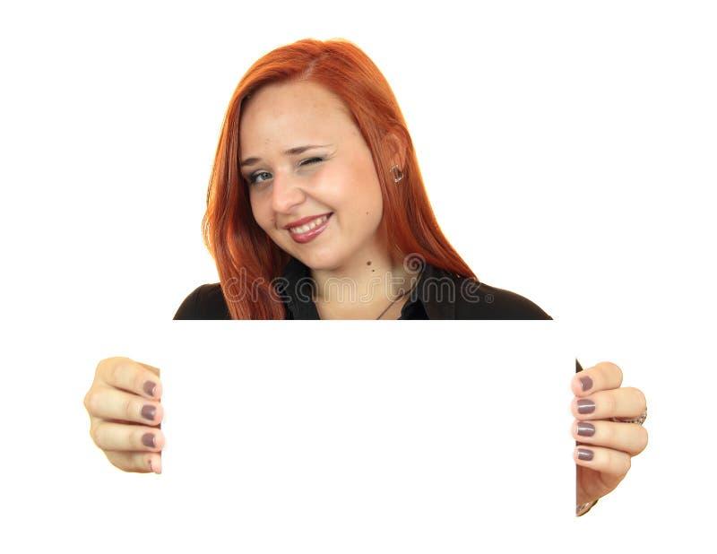 Portret piękna młoda kobieta trzyma up odbitkową przestrzeń obrazy royalty free