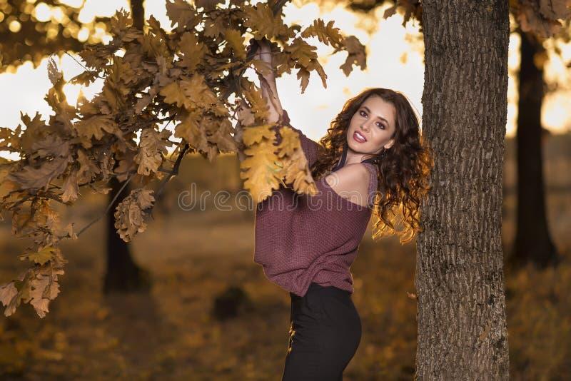 Portret piękna młoda kobieta w jesień lesie Lifes obraz stock