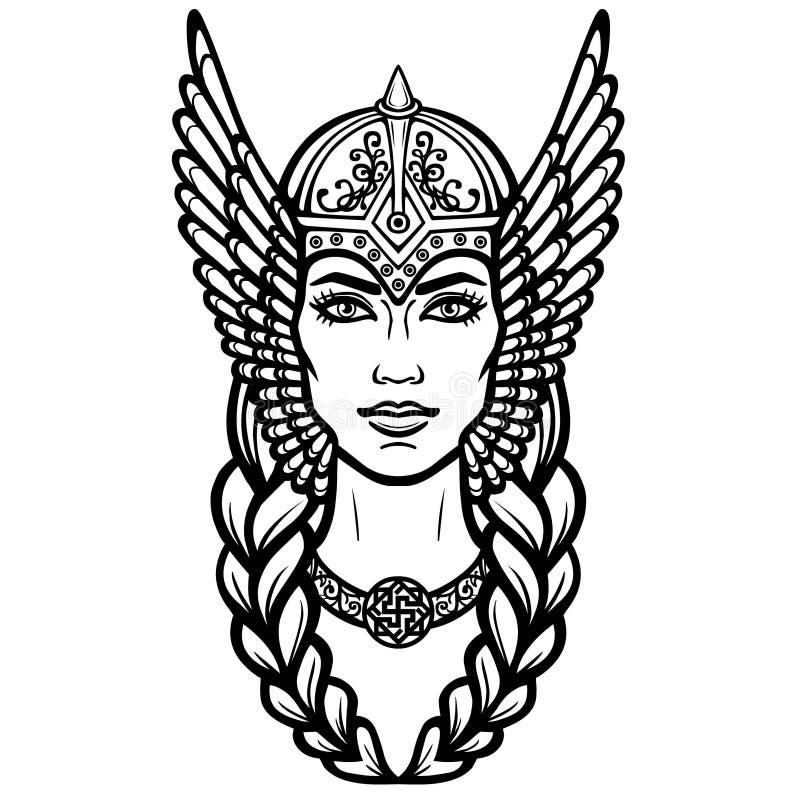 Portret piękna młodej kobiety walkiria Pogańska bogini, mityczny charakter royalty ilustracja