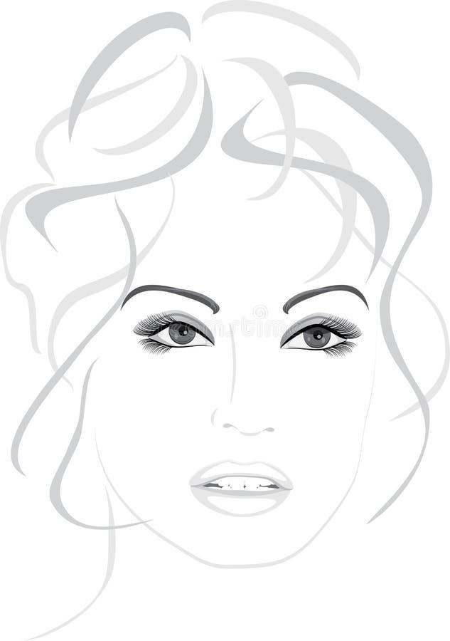 portret piękna odosobniona biała kobieta ilustracja wektor