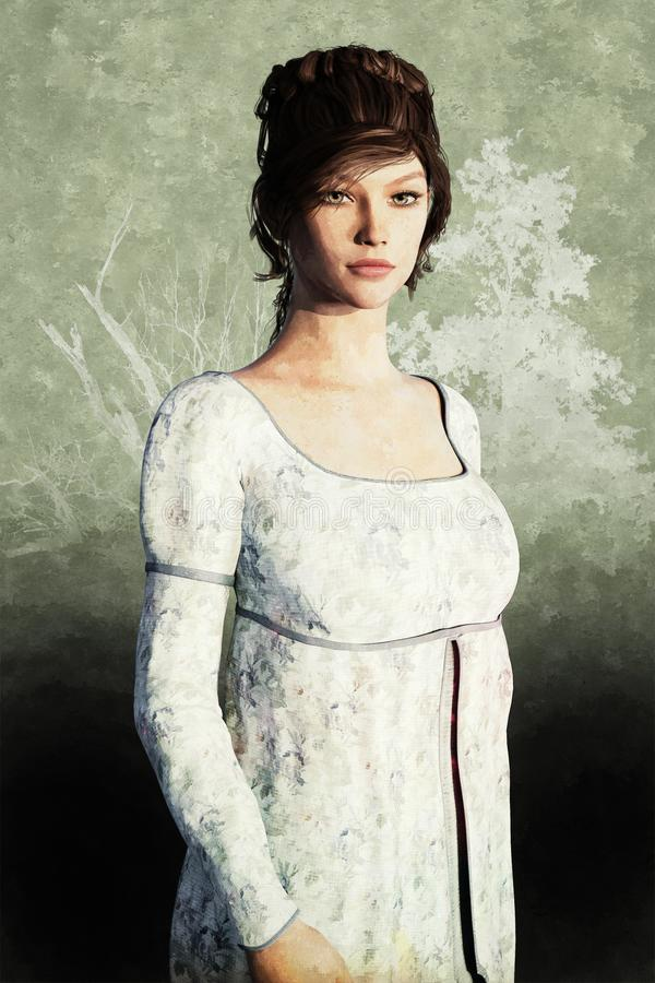 Portret Piękna regencja stylu kobieta royalty ilustracja