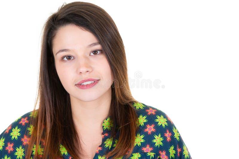 Portret piękna 20 roczniaka brunetki kobieta zdjęcia royalty free