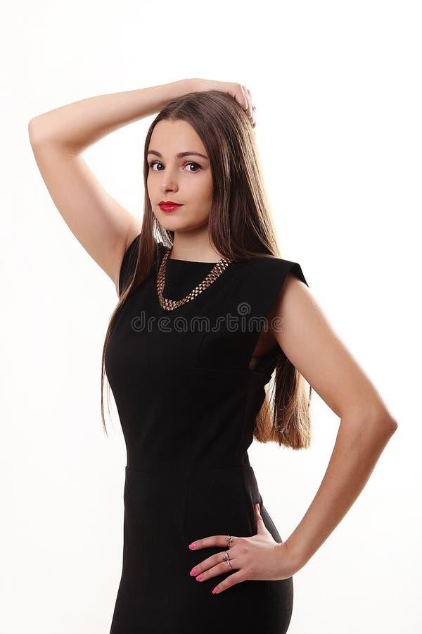 Portret piękna twarz młoda kobieta z długim brown hai zdjęcie stock