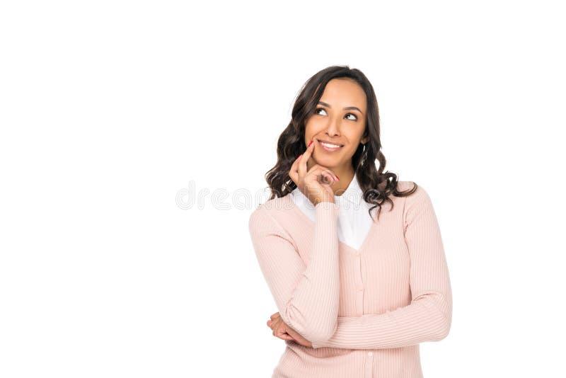 portret piękna uśmiechnięta amerykanin afrykańskiego pochodzenia kobieta patrzeje daleko od obrazy stock