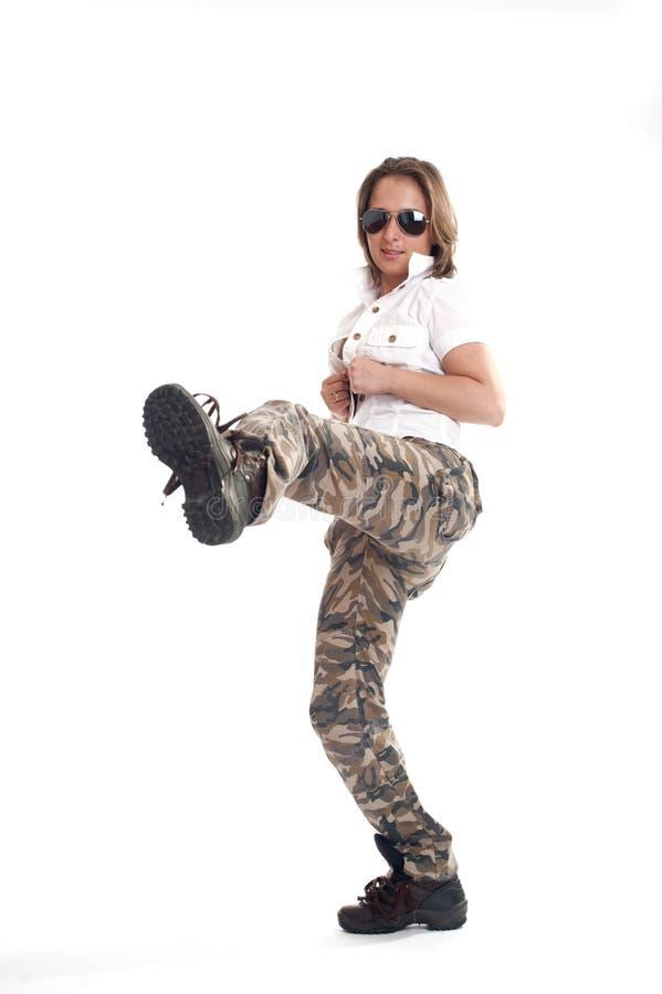 Portret piękna wojsko dziewczyna zdjęcia stock