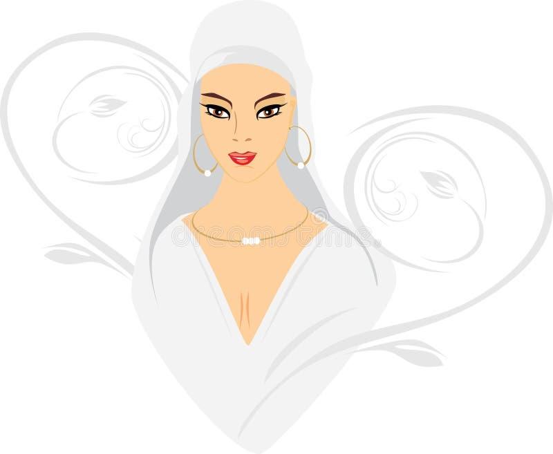 portret piękna wschodnia kobieta royalty ilustracja