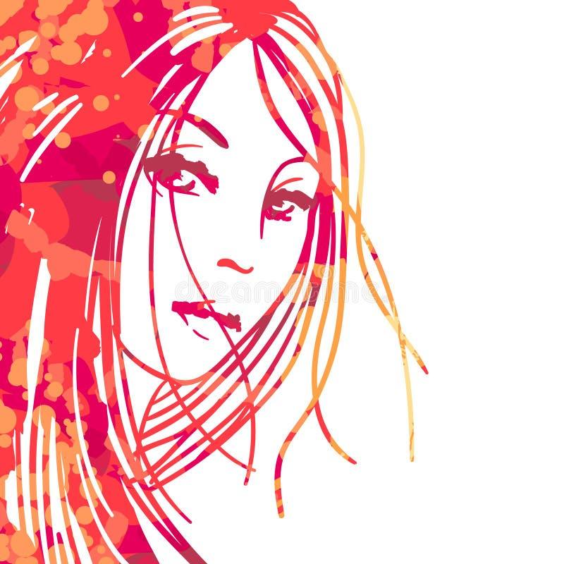 portret piękne kobiety ilustracji