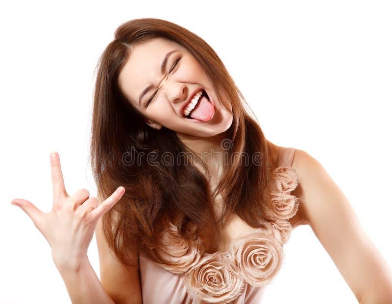 Portret pięknej uśmiechniętej nastoletniej dziewczyny szczęśliwy ekstatyczny gestykulować obrazy royalty free