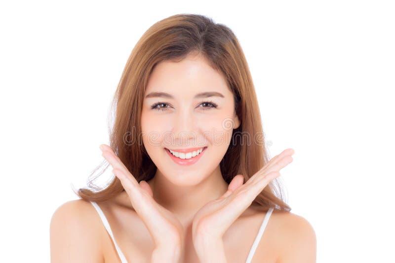 Portret piękny azjatykci kobiety makeup kosmetyk, dziewczyna uśmiech atrakcyjny, twarz doskonalić z wellness odizolowywającym dal zdjęcia stock