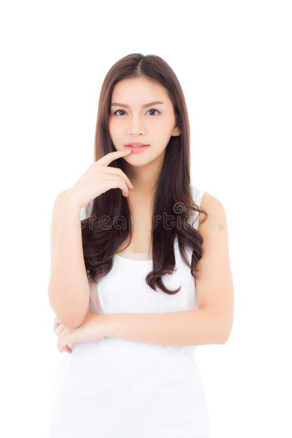 Portret piękny azjatykci kobiety makeup kosmetyk, dziewczyny ręki dotyka usta i uśmiech atrakcyjni, wargi piękno perfect obraz stock