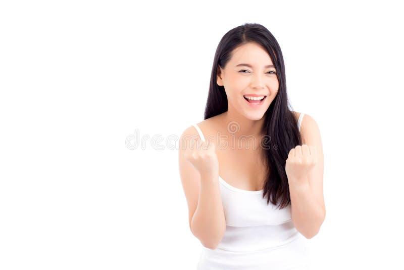 Portret piękny azjatykci kobiety makeup kosmetyk, piękno dziewczyna z twarz uśmiechem i gesta uradowany atrakcyjny odosobniony, zdjęcia stock