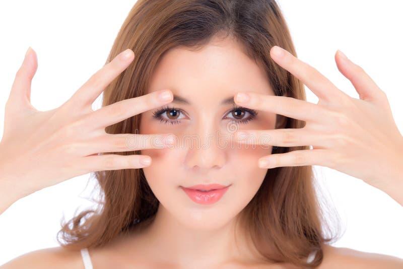 Portret piękny kobiety makeup kosmetyk, dziewczyny ręki oko obraz royalty free