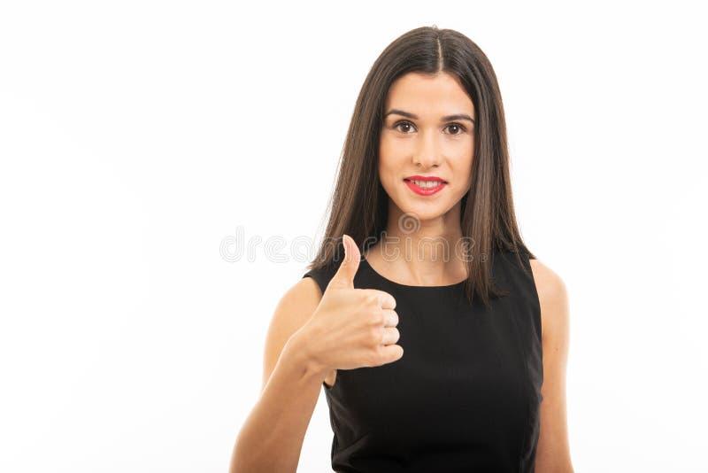 Portret pi?kny m?ody prawnik pozuje pokazywa? jak gest zdjęcie stock