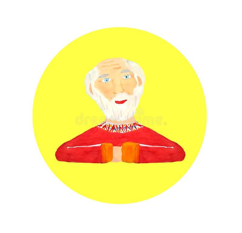 Portret pi?kny starszy m??czyzna z bia?ym w?osy bia?a broda - czerwona koszula - Rysunkowa akwarela Kresk ilustracja wektor