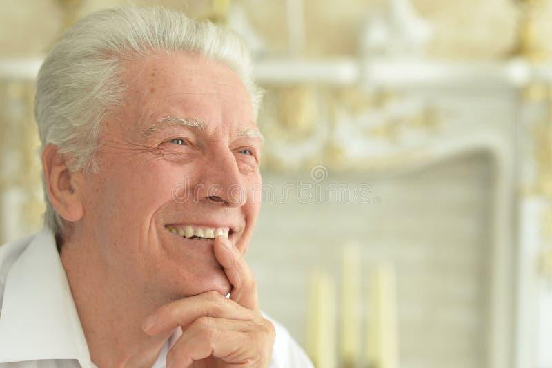 Portret piękny uśmiechnięty starszego mężczyzny pozować fotografia stock
