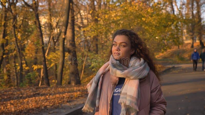Portret piękny z włosami caucasian dziewczyny odprowadzenie w jesiennym parku i obserwować piękno zdjęcia royalty free