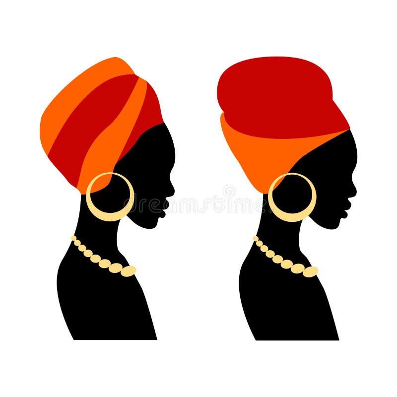 Portret pi?kna Afryka?ska kobieta w tradycyjnym turbanie ilustracji