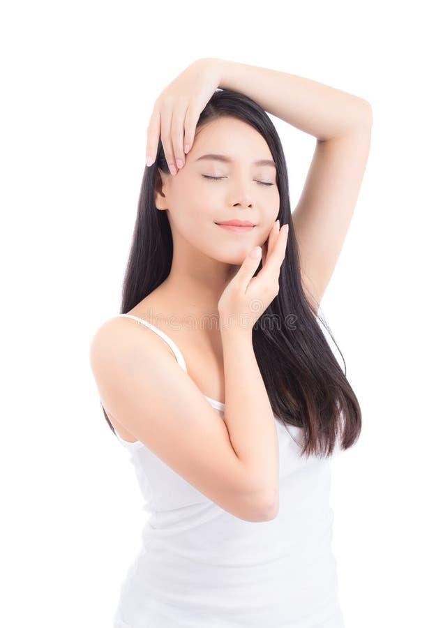 Portret pi?knej kobiety azjatykci makeup kosmetyk, dziewczyny r?ki dotyka policzek i u?miech atrakcyjni, zdjęcie royalty free