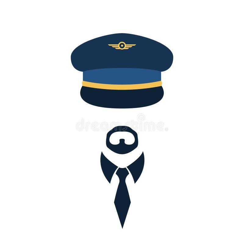 Portret pilot w krawacie i nakrętce ilustracji